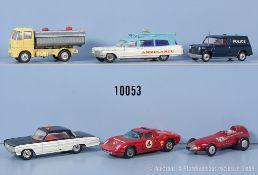 Konv. 6 Corgi Toys Modellfahrzeuge, u.a. Ferrari Berlinetta, Cadillac Superior ...