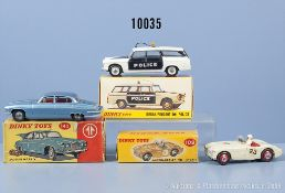 Konv. 3 Dinky Toys Fahrzeuge, dabei 109 Austin Healey, 142 Jaguar Mark X (Koffer fehlt) ...