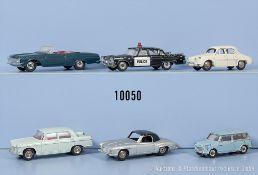 Konv. 6 Dinky Toys Modellfahrzeuge, u.a. Dodge Royal Sedan, Austin Seven, Mercedes 190 ...