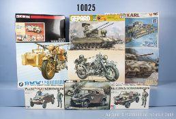 Konv. 9 Modellbausätze für Panzer, Motorräder, Schwimmwagen, Kübelwagen usw., M 1:9 - ...