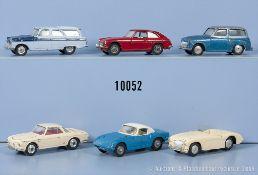 Konv. 6 Corgi Toys Modellfahrzeuge, u.a. Austin Healey, Ford Zephyr, Lotus Elan S2 usw., ...