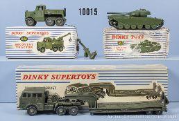 Konv. 3 Dinky Toys Modelle, dabei 651, 661 (Kranaufbau liegt lose bei) und 890, M 1:43, ...