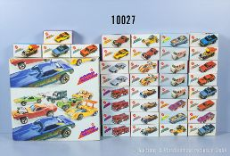 36 Mattel Mebetoys flying colors Modellfahrzeuge in OVP, dabei 2 x no. 2500 upfront 924, ...