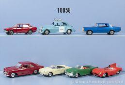 Konv. 7 Modellfahrzeuge, dabei Police Patrol Car, Mercedes 250 SE, Lancia Flaminia, ...