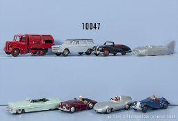 Konv. 8 Dinky Toys Modellfahrzeuge, u.a. Fiat 1800, Connaught, Triumph TR2, Austin ...