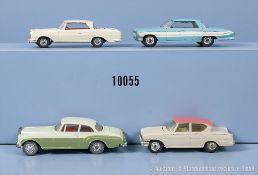 Konv. 4 Corgi Toys Modellfahrzeuge, dabei Mercedes Benz 220 SE Coupé, Oldsmobile Super ...