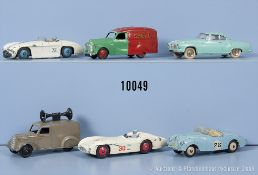 Konv. 6 Dinky Toys Modellfahrzeuge, u.a. Borgward Isabella, Sunbeam Alpine, Cunningham ...