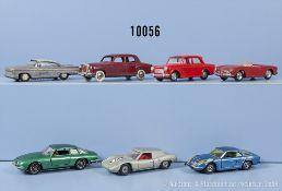 Konv. 7 Modellfahrzeuge. dabei Mercedes 220, Alfa Romeo Giulietta Spider, Fiat 1100, ...