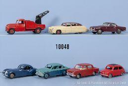 Konv. 7 Dinky Toys Modellfahrzeuge, u.a. Simca 1000, Sunbeam Rapier, Hudson Sedan, Fiat ...