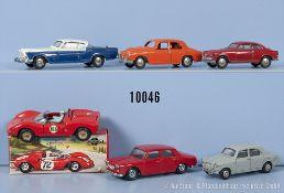 Konv. 6 Mercury Modellfahrzeuge, dabei Alfa Romeo 1900, Lancia Appia, Studebaker Golden ...