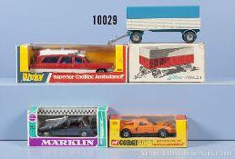 Konv. 4 Modellfahzeuge, dabei Corgi whizzwheels 388 Mercedes Benz C111, Dinky Toys 288 ...