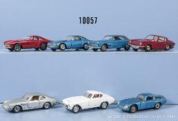 Konv. 7 Modellfahrzeuge, dabei Ferrari 250 GT, Lamborghini 350 GT, Ferrari 330 GTC, Fiat ...