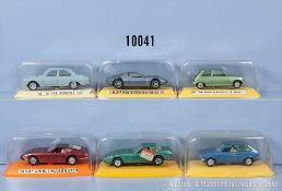 Konv. 6 Pilen Modellfahrzeuge, dabei Peugeot 504, Renault R 5, Ghibli Maserati usw., M ...