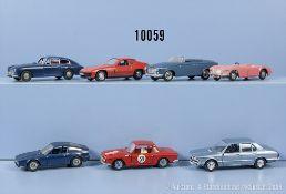 Konv. 7 Modellfahrzeuge, dabei Alfa Romeo Zagato, Aston Martin, Porsche 924, Peugeot 403 ...