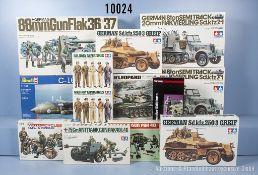 Konv. 13 Modellbausätze für Halbketten, Geschütze, Figuren, Panzer usw., M 1:16 - 1:100, ...
