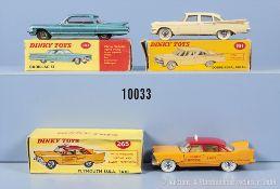Konv. 3 Dinky Toys Fahrzeuge, dabei 147 Cadillac 62, 191 Dodge Royal Sedan und 265 ...