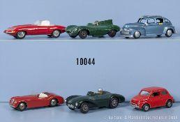 Konv. 6 Modellfahreuge, dabei Aston Martin DB3 S, Jaguar D-Type, Alfa Romeo usw., ...