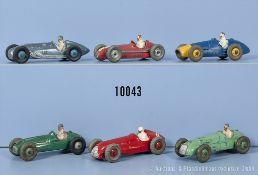 Konv. 6 Dinky Toys Rennwagen, dabei 23 G, 23 K, 231, 232, 234 und 235, M 1:43, ...