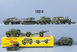 Konv. 7 Militärfahrzeuge, dabei u.a. Dinky Toys 80 C, 676, 688, 697 usw., M 1:43, ...