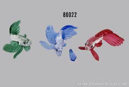 Konv. 3 Teile Swarovski Tierfiguren, dabei Kampffisch rot, Seitenflosse fehlt, ...