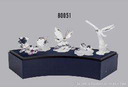 Konv. 5 Swarovski Tierfiguren, dabei Schmetterling, Libelle, Vogel mit Blüte, Schnecke ...