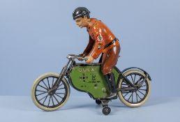 Lehmann QUEX Nr. 800 SA-Motorradfahrer mit Stützrädern, lith. Vollblechausf. mit ...