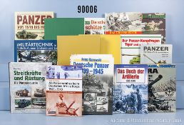 Konv. 40 Bücher NK über Artilleriewaffen, Panzer und Panzerkrieg, überwiegend 2. WK, u. ...