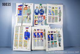 Konv. 6 original Zeichnungen zum Thema Uniformierung Kaiserliches Heer aus versch. ...