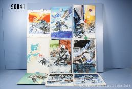 Konv. 9 original Zeichnungen von Titelbildern der Landser-Kleinbände Nr. 238, 243, 255, ...