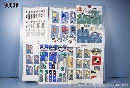 Konv. 6 original Zeichnungen zum Thema Uniformierung und Effekten der Wehrmacht ...