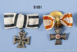Konv. Preußen 2 Miniaturen jeweils an der Knopflochschleife, Roter Adlerorden 4. Klasse ...