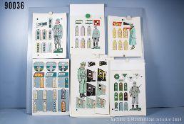 Konv. 6 original Zeichnungen zum Thema Uniformierung und Effekten der Wehrmacht Heer aus ...