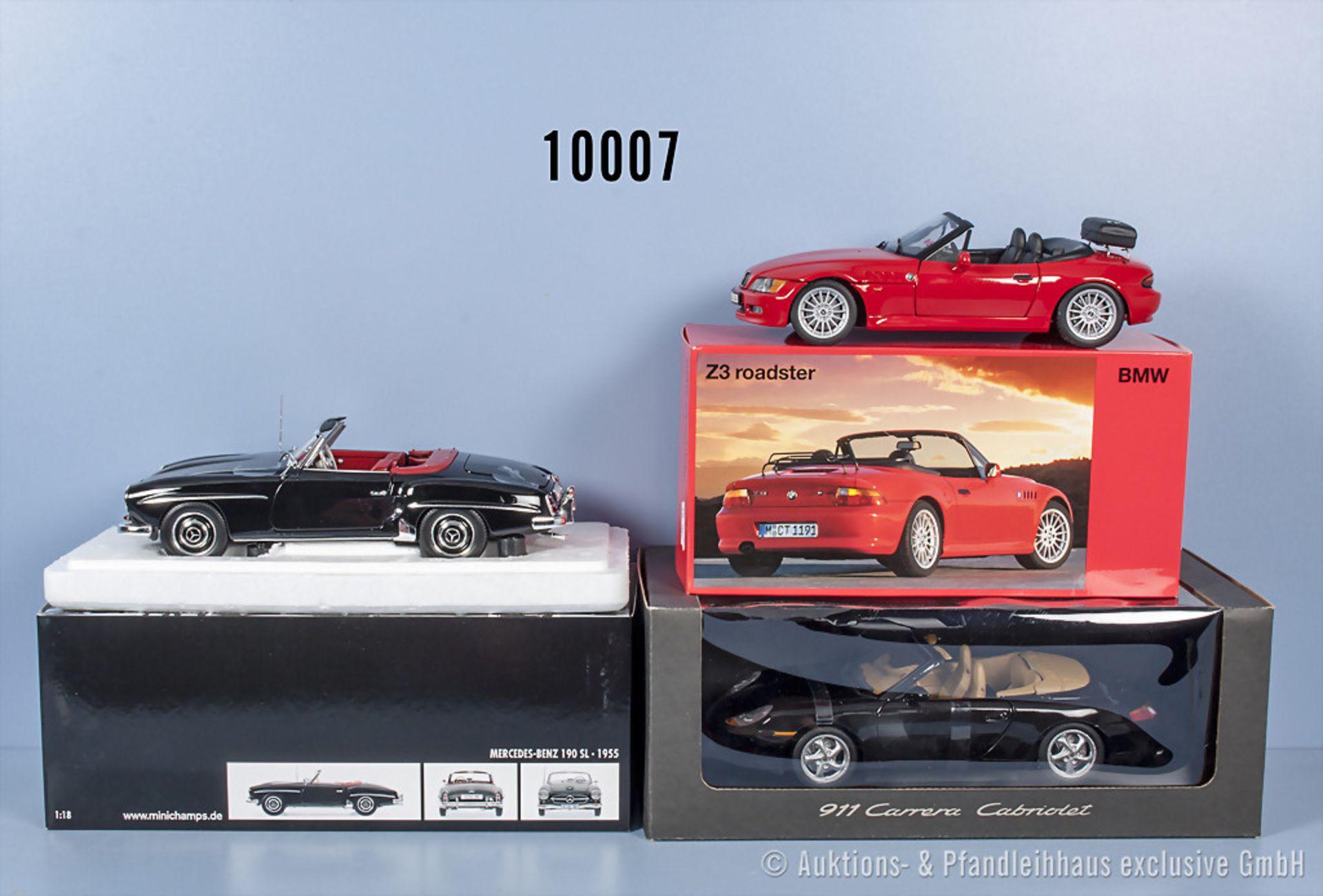 Konv. 3 Modellfahrzeuge dabei UT Models BMW Z3 Roadster, UT Models Porsche 911 Carrera ...