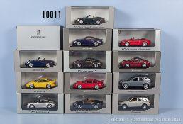 Konv. 13 Minichamps Porsche Modellfahrzeuge dabei Boxster S, 911 turbo, Cayenne turbo, ...