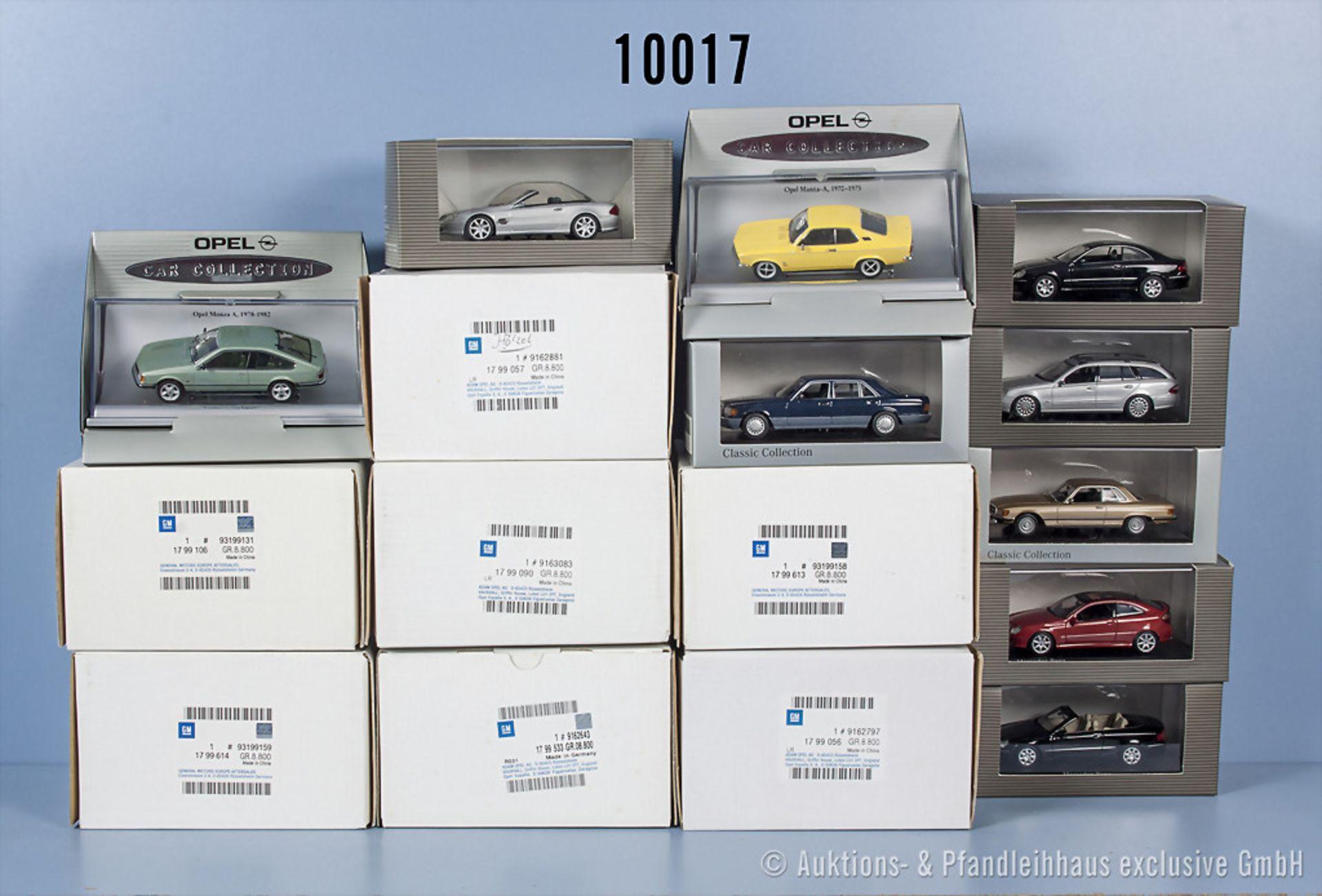 Konv. 16 Modellfahrzeuge dabei Opel und Mercedes Benz, Metallausf., Hersteller u.a. ...