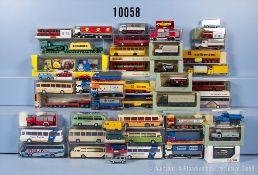 Konv. 50 H0 Modellfahrzeuge, dabei Lkw, Sattelzug, Omnibus, Tieflader, Einsatzfahrzeuge ...