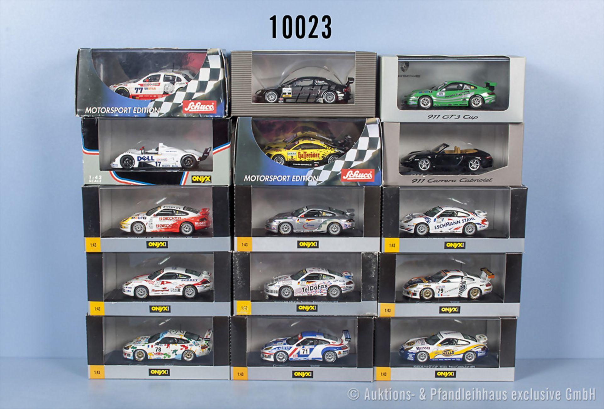 Konv. 15 Modellfahrzeuge dabei Porsche, BMW, Audi usw., Hersteller Onyx, Schuco und ...