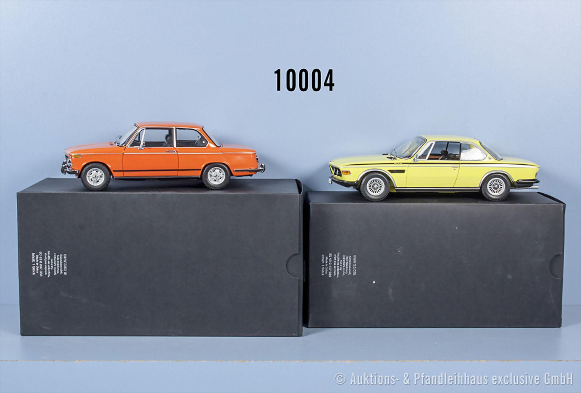 Konv. 2 BMW Modellfahrzeuge dabei Minichamps BMW 3.0 CSL und Kyosho BMW 2002 tii, ...