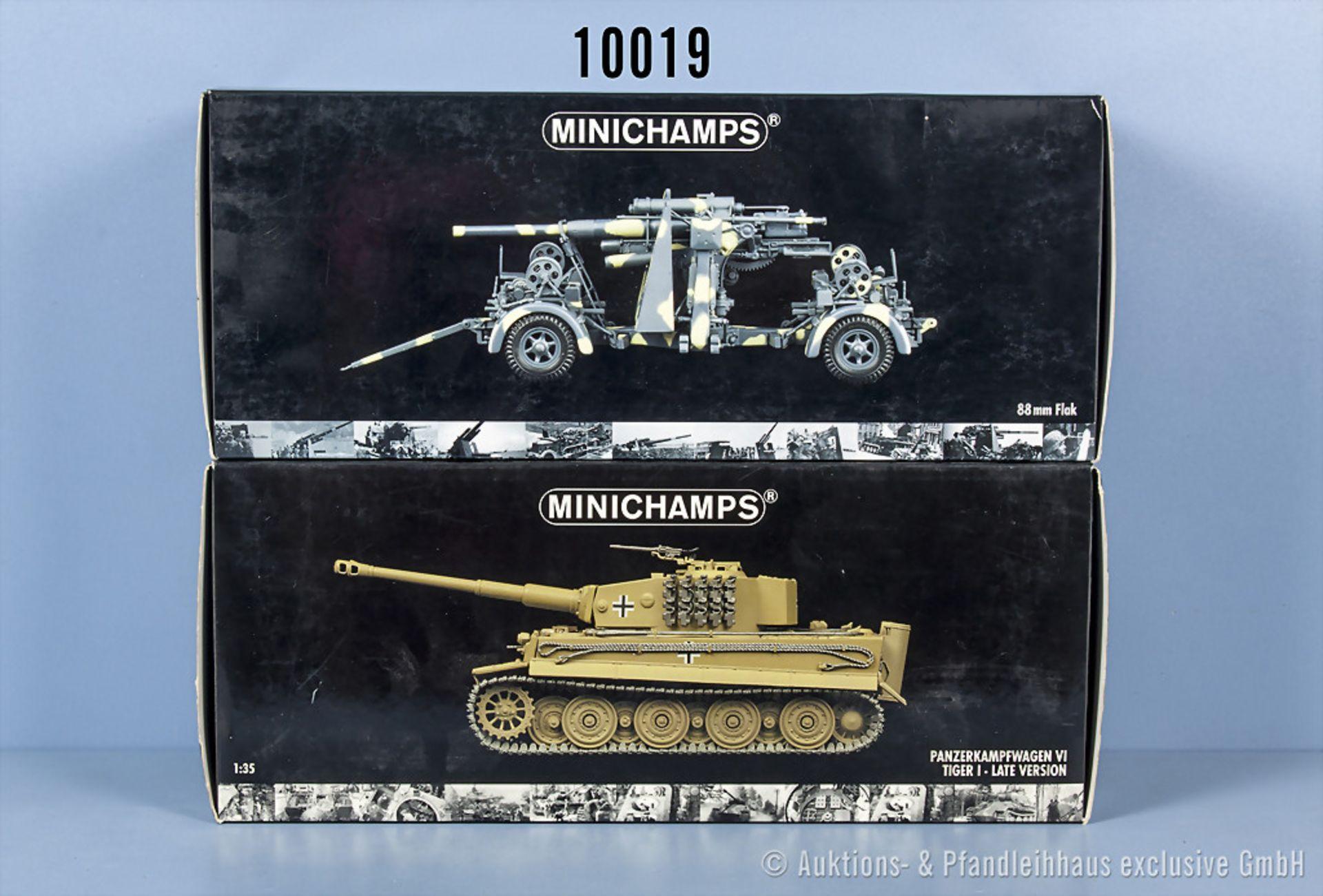 Konv. 2 Minichamps Modellfahrzeuge dabei Panzerkampfwagen VI Tiger I und German 88 mm ...