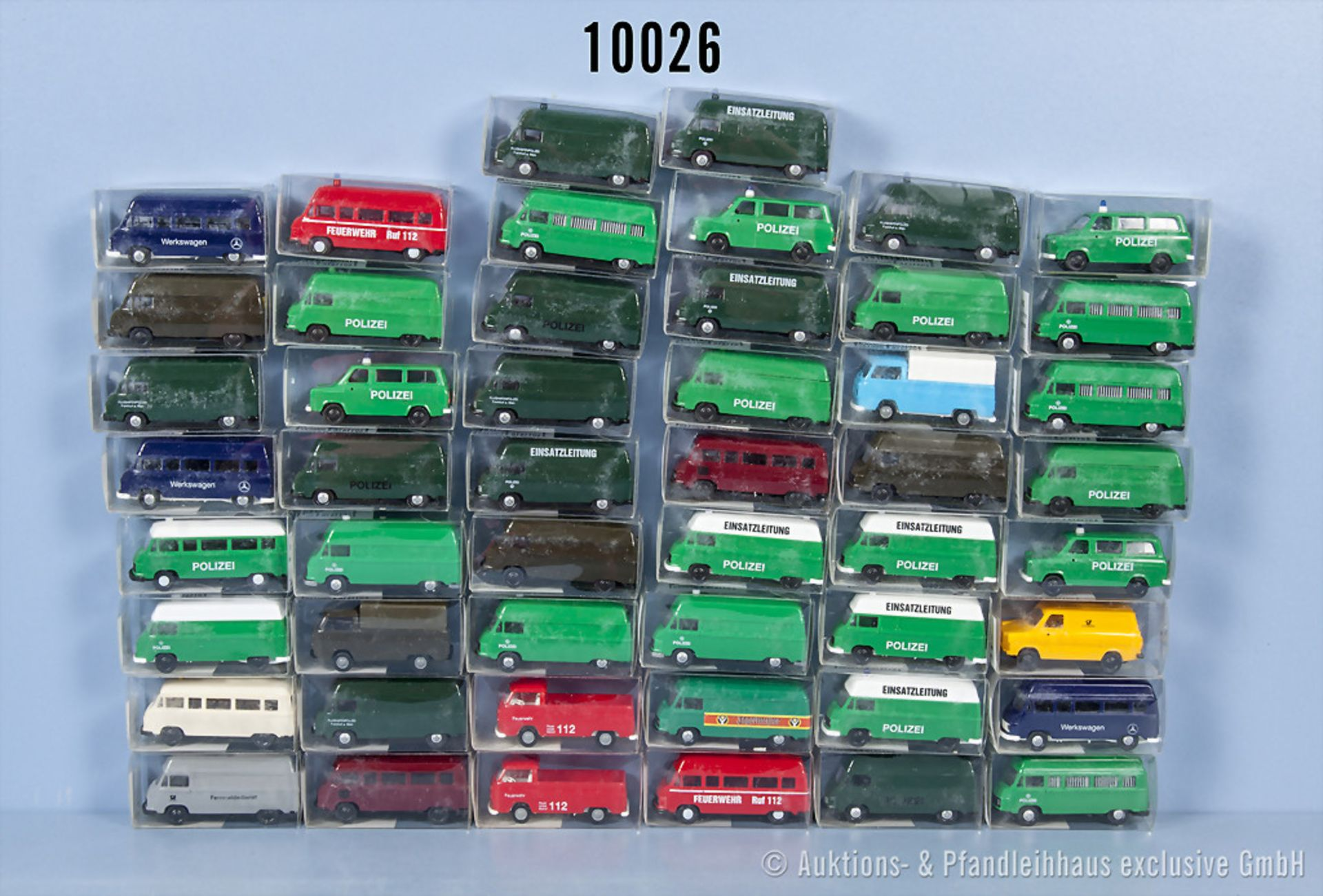 Konv. 50 H0 Euromodell Modellfahrzeuge dabei überwiegend Einsatzfahrzeuge, neuwertiger ...