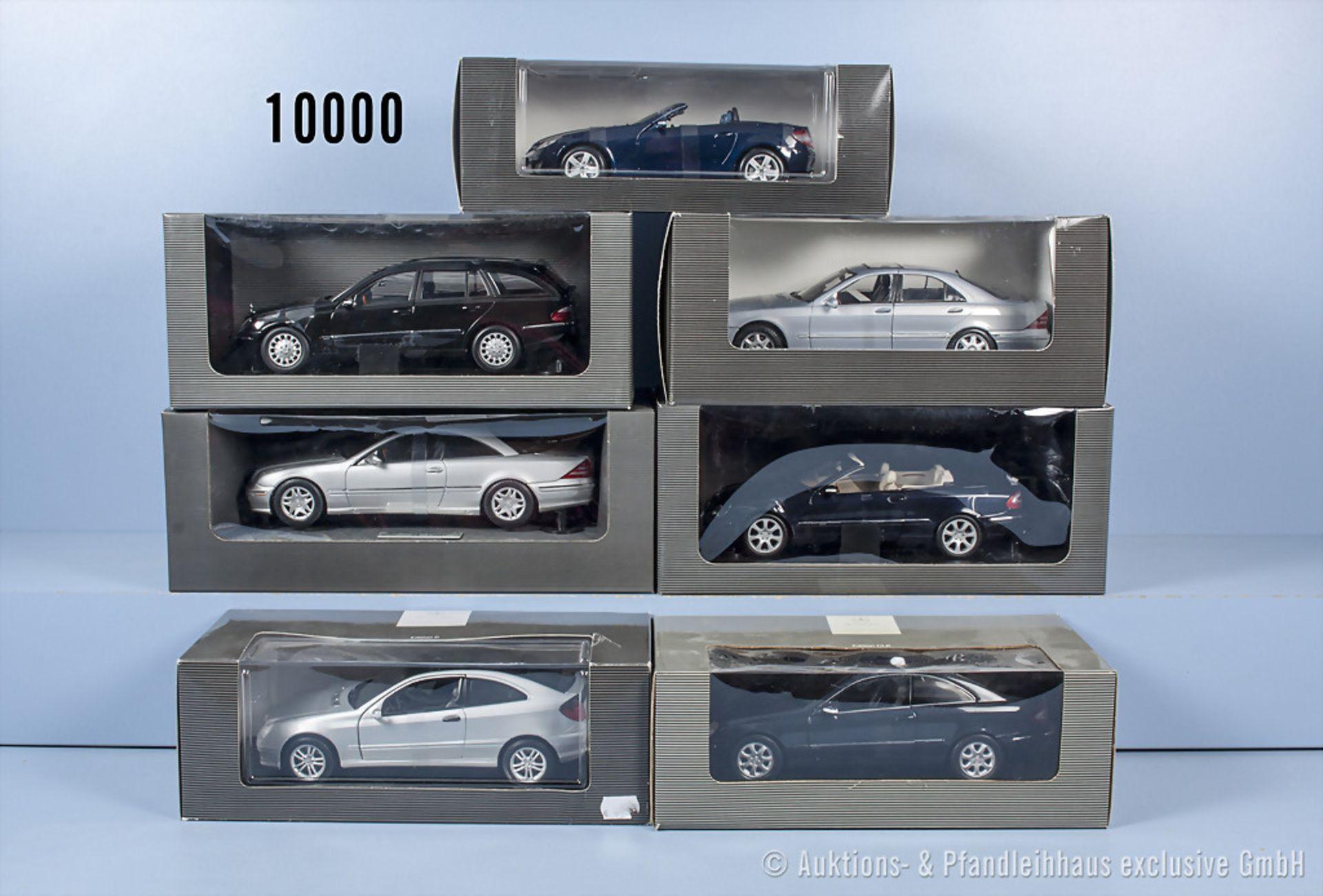 Konv. 7 Mercedes Benz Modellfahrzeuge dabei E Klasse T Modell, CL Coupé, CLK Coupé usw., ...