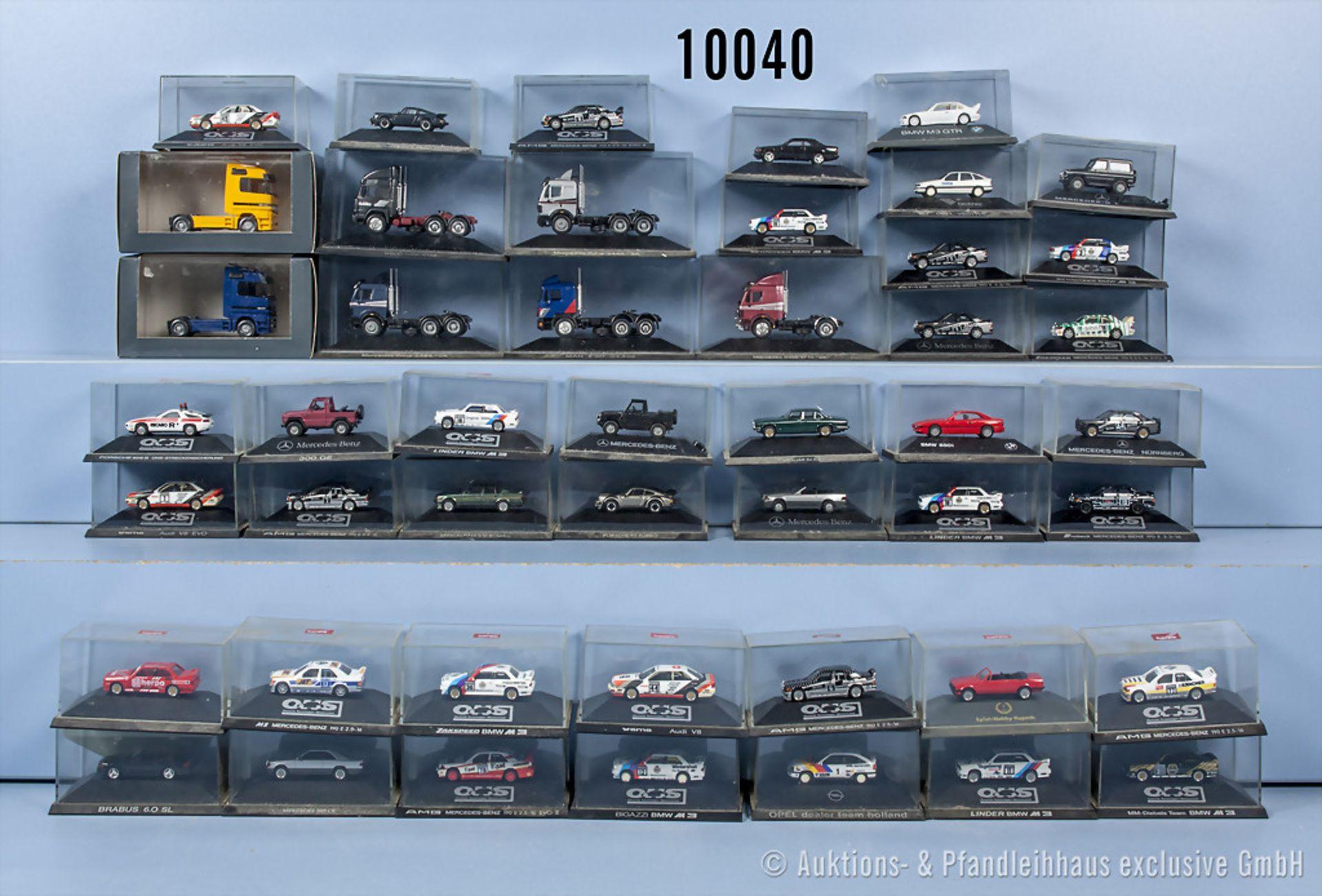 Konv. 46 Herpa H0 Modellfahrzeuge, dabei Rallyewagen, Zugmaschinen, Pkw usw., sehr guter ...