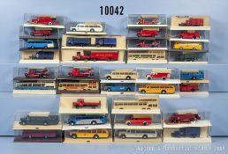 Konv. 35 Brekina H0 Modellfahrzeuge, dabei Feuerwehr-Einsatzfahrzeuge, Omnibusse usw., ...