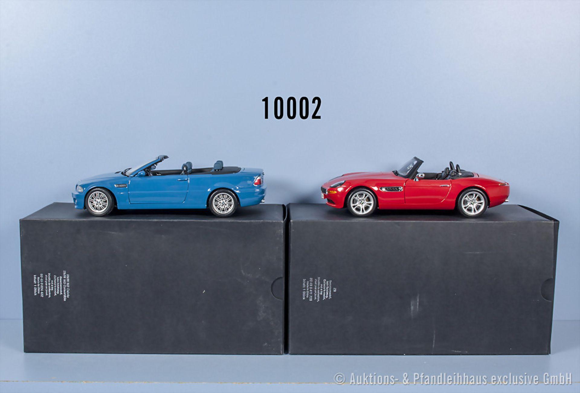 Konv. 2 Kyosho BMW Modellfahrzeuge dabei M3 Cabrio und Z8, Metallausf., M 1:18, ...