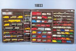 Konv. über 120 H0 Modellfahrzeuge, dabei Lkw, Transporter, Pkw, Einsatzfahrzeuge usw., ...