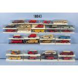 Konv. 30 Brekina H0 Modellfahrzeuge, dabei Omnibusse, Einsatzfahrzeuge usw., sehr guter ...