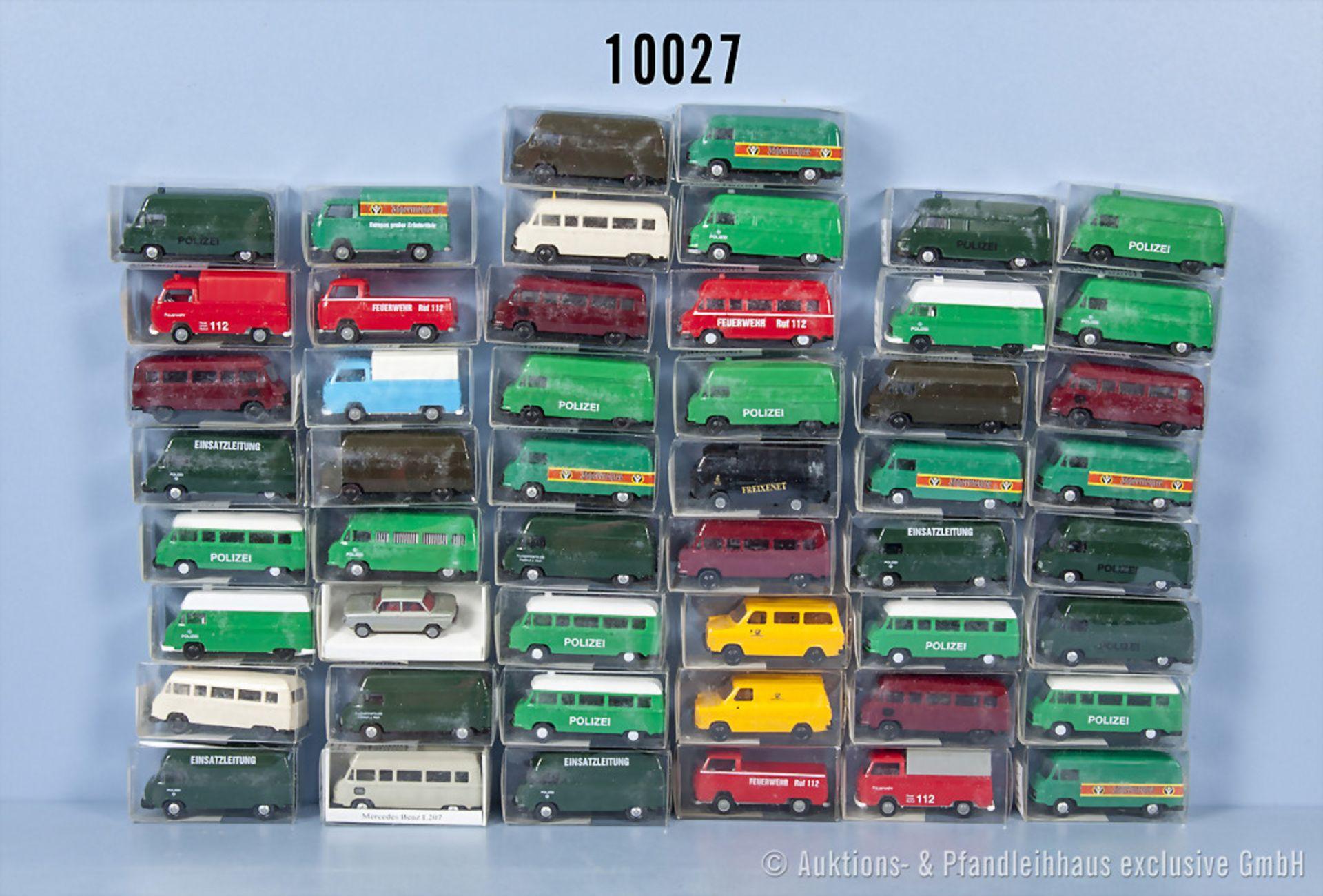 Konv. 50 H0 Euromodell Modellfahrzeuge dabei überwiegend Transporter, neuwertiger ...