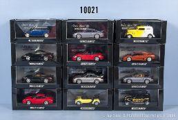 Konv. 12 Minichamps Modellfahrzeuge dabei Porsche, American Hot Rod, Lamborghini, Smart ...