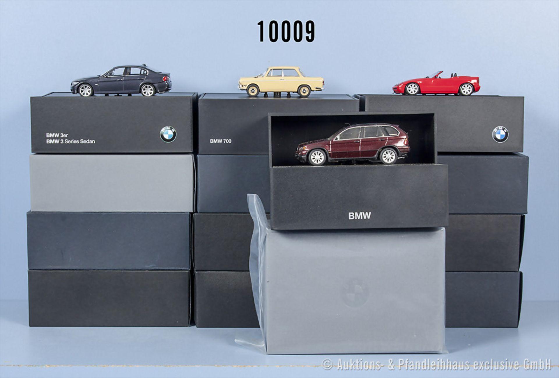 Konv. 11 BMW Modellfahrzeuge dabei X5, 323i, 2002 turbo usw., Metallausf., M 1:43, ...