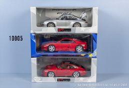 Konv. 3 UT Models Modellfahrzeuge dabei Ferrari F 355 sowie 2 Porsche Modelle, ...